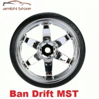 Jual Ban + Velg RC Drift tyres 1/10 Austar Offset 6MM Chrome Murah