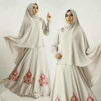 Baju Gamis wanita wolly crepe putih [Syari Zahara Putih SW]