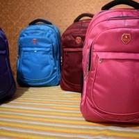 Tas Ransel Polo Zuy09 Wanita Remaja Anak Sekolah Gratis Raincover Pink