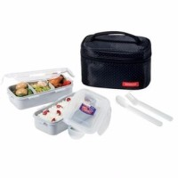 Lock & Lock Lunch Box 2 Pcs With Bag And Spoon Fork Set