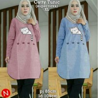Tunik Catty (Dusty - Blue) Blouse Muslim Baju Muslimah Modern