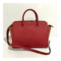 Tas Shoulder Bag Michael Kors Mk Selma Large Gromed Red Authentic Orig