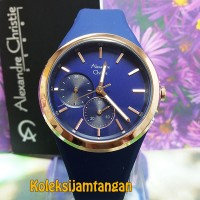 JAM TANGAN WANITA ALEXANDRE CHRISTIE 2663 ROSE GOLD BIRU ORIGINAL