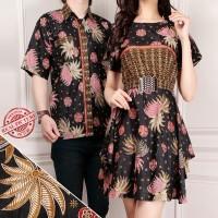 SB Collection Couple Atasan Jessica Midi Dress dan Kemeja Batik Pria