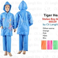 Jas Hujan ANAK Stelan Boy and Girl 68329 Tiger Head. Setelan Celana