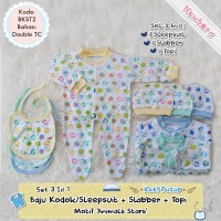 Set Baju Kodok Sleepsuit +Slabber +Topi Kupluk Bayi Newborn Kaki Tutup