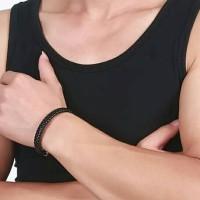 Gelang Pria Kulit Hitam Black Simple Leather