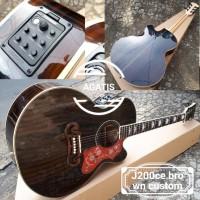 gitar akustik elektrik j200ce custom brown fishman presys plus