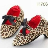 Jual Sepatu prewalker pesta bayi perempuan import high heels coklat leopard Murah