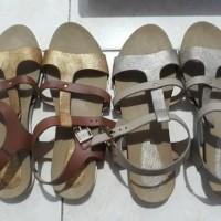 sendal sepatu tali wanita fladeo shoes sandal gold emas silver mewah