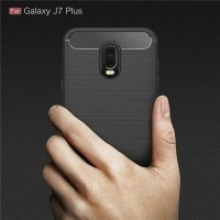 Case Samsung J7 Plus + Ipaky Carbon Fiber Soft Series Casing HardCase