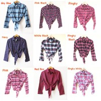 Jual blouse kemeja flanel shirt ikat crop kotak square jangkis Murah