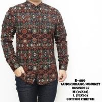 Baju Tangan Panjang Batik Songket Coklat Keren Gaya Trendy