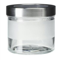 IKEA DROPPAR Toples Bertutup 400ml Kaca Frosted & Stainless Steel