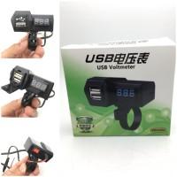 Casan Hp Di Stang Motor Universal Dual USB Charger + Voltmeter
