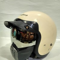 Paket Googgle Masker plus pet + Helm Carglos Cargloss Retro + keren