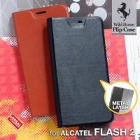 CASING CASE HP KULIT LEATHER FLIP ALCATEL FLASH 2 FLIP SOFT COVER