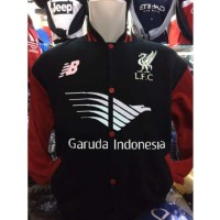Jual Jaket Varsity Bola Liverpool L-822 Baseball Sponsor Garuda Ind   Murah