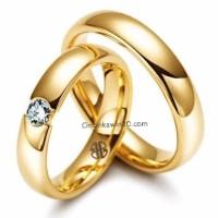 Cincin Nikah Tunangan Perak Lapis Emas Kuning - TP010