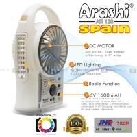 Jual Emergency Kipas Angin,Lampu,Radio 3-in1 Arashi (Spain) 5 inch Portabel Murah