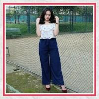 Celana Wanita Murah / Celana Panjang / Celan Bahan / Kulot Ribbon Navy