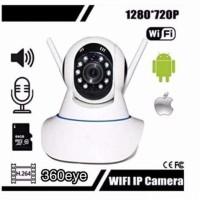 IP Camera HD 720 Wifi 2 Antena CCTV Online Alarm Spy Cam Pengintai