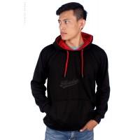 Jaket Hoodie Jumper Fleece Polos Cowok Warna Hitam Merah Bagus MURAH