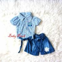 Baju Setelan Anak Perempuan Kemeja Denim Jeans Owl ( 1 - 4 Th )