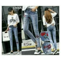 Celana jeans wanita, celana J wan jean wanita motif