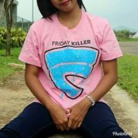 Distro/Kaos/Baju/T-Shirt/FRIDAY KILLER DEPAN LOGO PINK EDITION