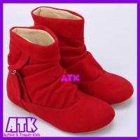 Sepatu anak perempuan boots merah cewek fashion show keren gaul lucu