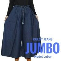 celana panjang jeans wanita kulot jumbo big size saku kanan kiri