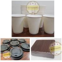 1 SET: Paper Cup/Gelas kopi 8 oz(50pcs)+ Tutup(50pcs)+ Stirrer(100pcs)