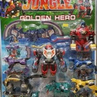 robot transformer combine/bergabung power rangers jungle fury megazord