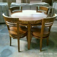 Meja Cafe Bulat, Meja Makan Bulat mebel kayu jati