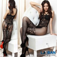 Sexy Lingerie Full Body Stocking Jaring Model Open Crotch Hollow Hitam