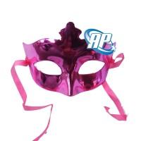 Topeng pesta polos pink/ wajah/ Party Mask metalik/ topeng ultah
