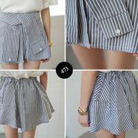 cotton Midi Flare Skirt Bandage Fever Urmod Rok bawahan korea import