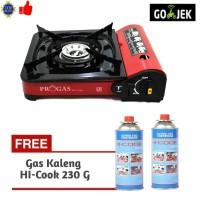 Paket Progas Kompor Portable Camping 2 Gas Kaleng HI COOK 230 G