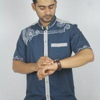Fashion Muslim Cowok Baju Koko Bordir Lengan Pendek Bermerk