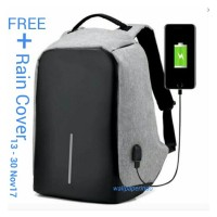 Jual Tas Ransel USB port charger,Smart Backpack Anti Air Anti Maling-thief Murah