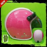 Helm Bogo Retro Gix Solid Semi Kulit Pink Magenta