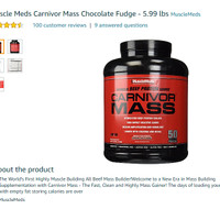 Amazon Best Muscle Meds Carnivor Mass Chocolate Fudge - 5.99 lbs Impor