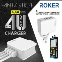 ROKER CHARGER 4 PORT 4.4 A TRAVEL HP CARGER SAMSUNG XIAOMI IPHONE