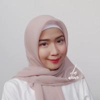 Hijab Polycotton Jilbab Poton Square Segi Empat Cokelat Muda