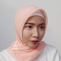 Hijab Polycotton Jilbab Poton Square Segi Empat Salmon Peach