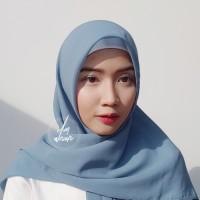Hijab Polycotton Jilbab Poton Square Segi Empat Biru Denim