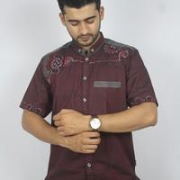 Fashion Muslim Pria Baju Koko Lengan Pendek Warna Merah Bordir