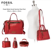 fossil bella red satchel small