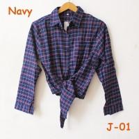 Jual blouse kemeja flanel shirt ikat crop kotak square jangkis tali Navy Murah